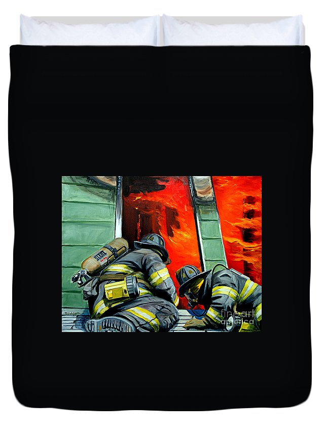 Firefighting Duvet Cover featuring the painting Outside Roof by Paul Walsh