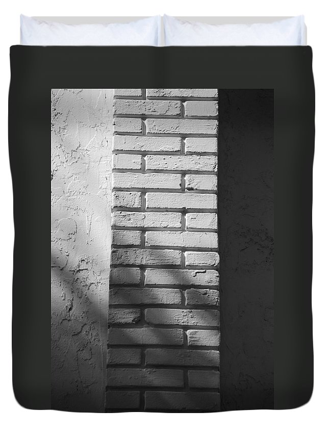 Black And White Duvet Cover featuring the photograph Outside The Wall by Rob Hans