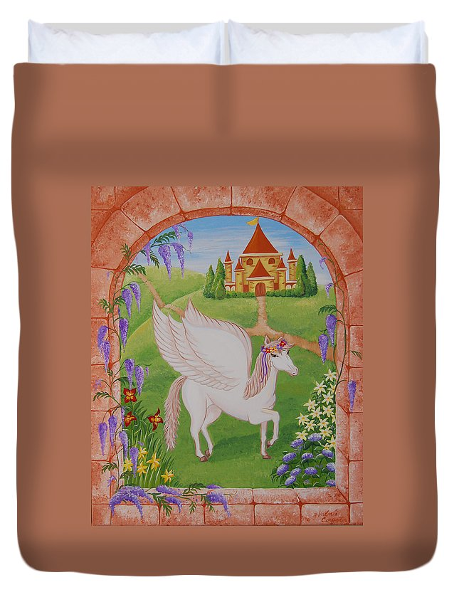 Horses Duvet Cover featuring the painting Outside The Window by Valerie Carpenter