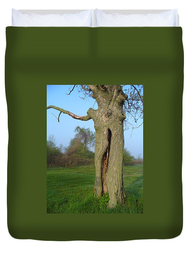 Tree Duvet Cover featuring the photograph Outstanding In Her Field by Peggy King