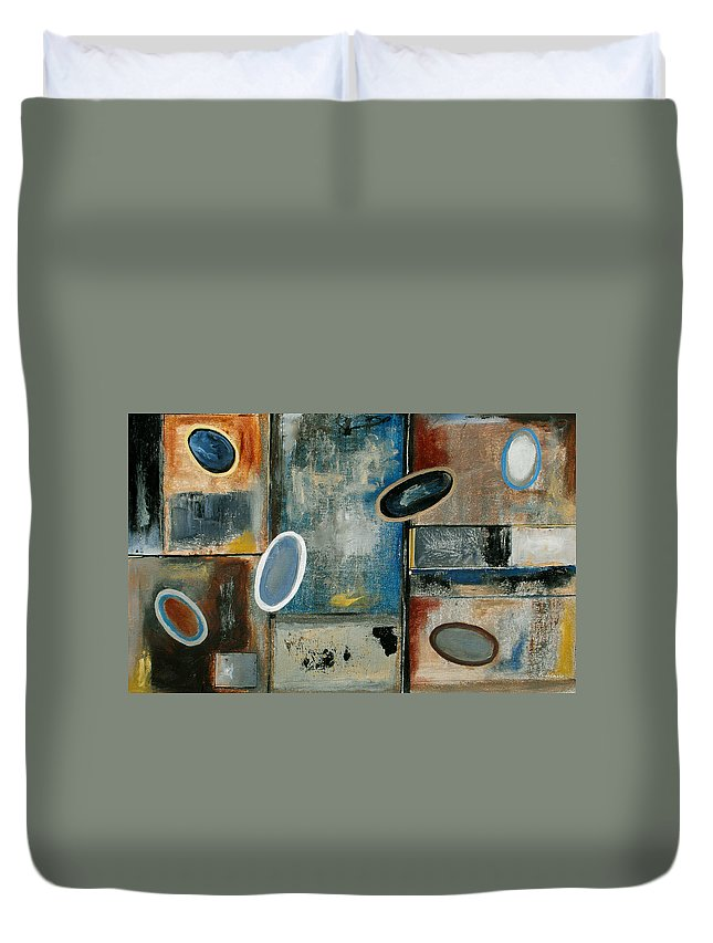 Acrylic Duvet Cover featuring the painting Over Easy by Ruth Palmer