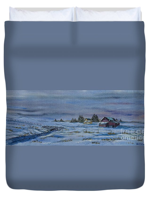 Winter Scene Paintings Duvet Cover featuring the painting Over The Bridge And Through The Snow by Charlotte Blanchard