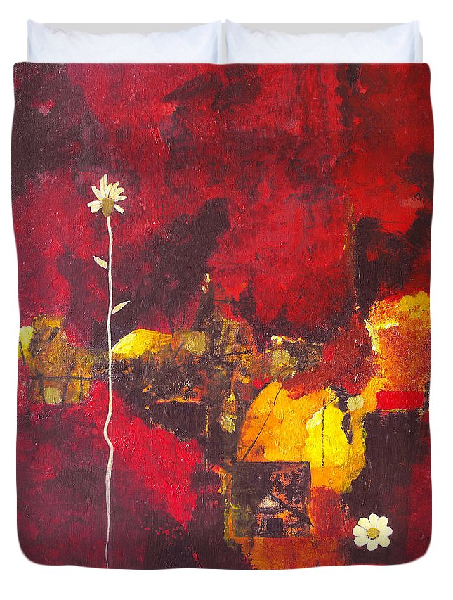Abstract Duvet Cover featuring the painting Over The Broken Fence by Ruth Palmer