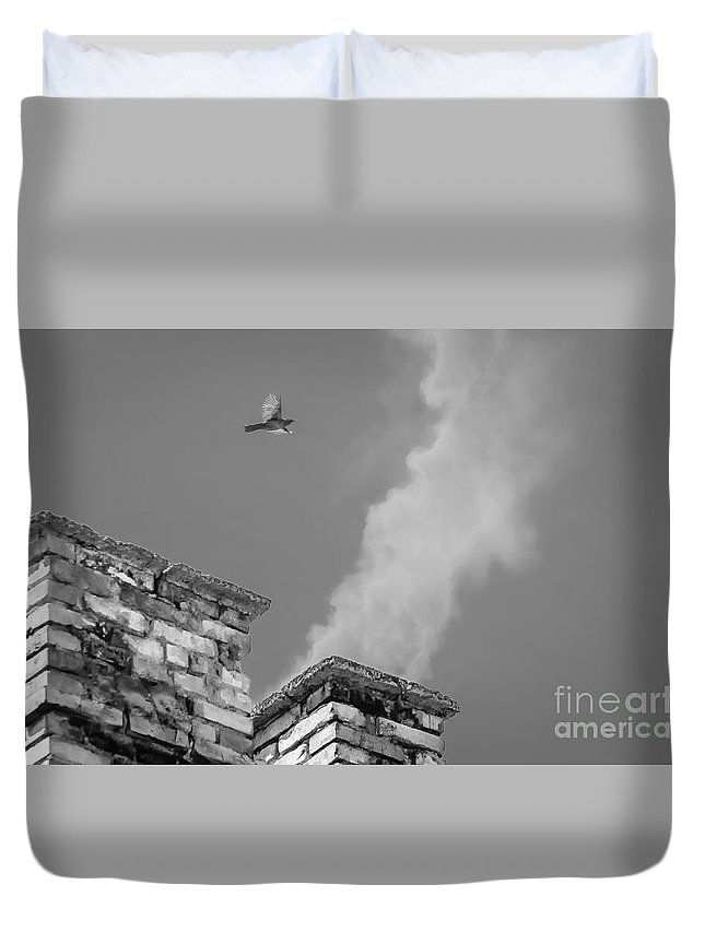 Landscape Duvet Cover featuring the photograph Over The Civilization by Lyudmila Prokopenko