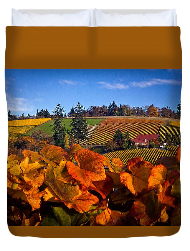 Oregon Duvet Cover featuring the photograph Over The Durant Vineyards by Marvin Mast