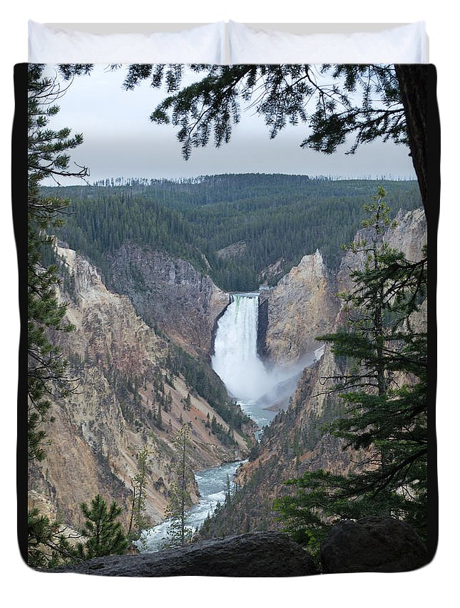 Yellowstone National Park Duvet Cover featuring the photograph Over The Rail by Linda Kerkau