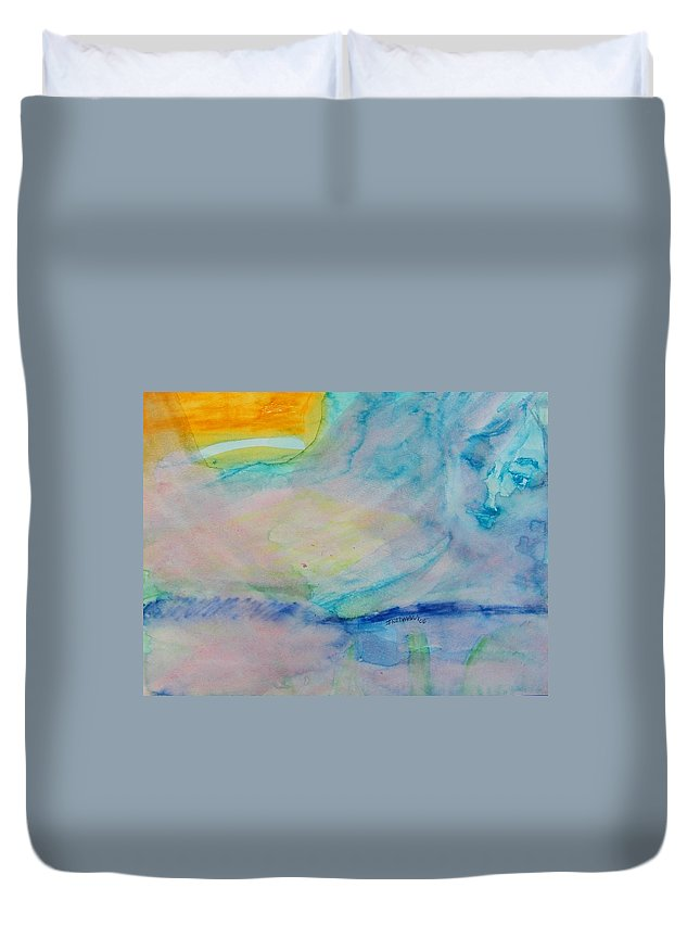 Abstract Duvet Cover featuring the painting Over The Rainbow by Judith Redman