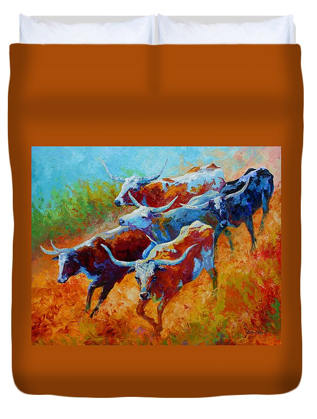 Western Duvet Cover featuring the painting Over The Ridge - Longhorns by Marion Rose