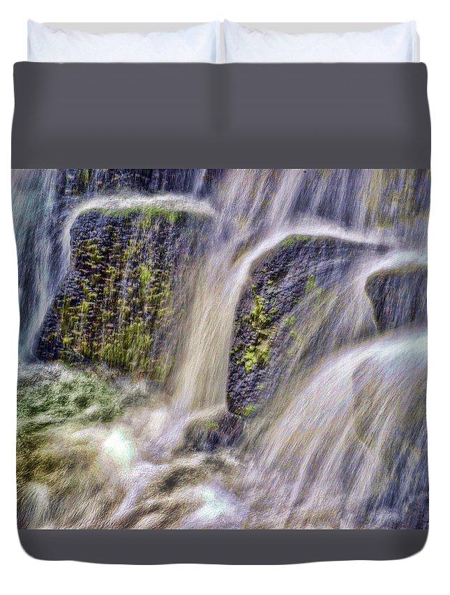 Rocks Water Waterfalls Hot Springs Arkansas Duvet Cover featuring the digital art Over The Stones by Joe Bledsoe