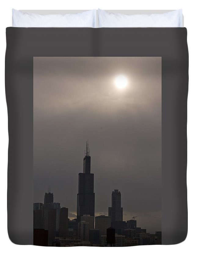 Chicago Windy City Skyline Skyscraper Willis Tower Sears Urban Metro Sun Cloud Cloudy Duvet Cover featuring the photograph Over The Willis Tower by Andrei Shliakhau
