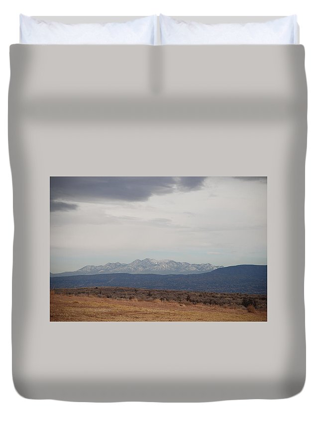 Mountains Duvet Cover featuring the photograph Overcast On The Sandias by Rob Hans