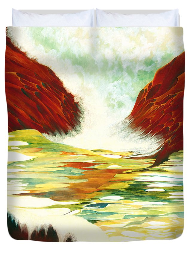 Oil Duvet Cover featuring the painting Overflowing by Peggy Guichu