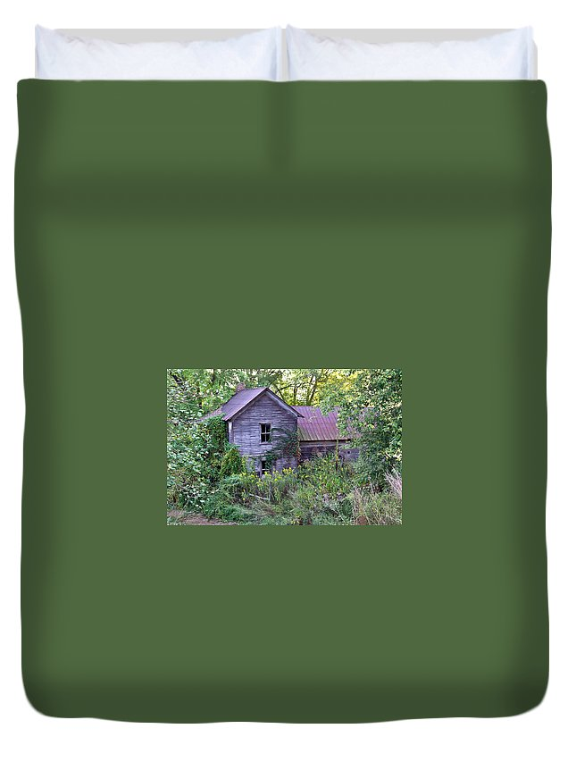 Overgrown Duvet Cover featuring the photograph Overgrown Abandoned 1800 Farm House by Douglas Barnett