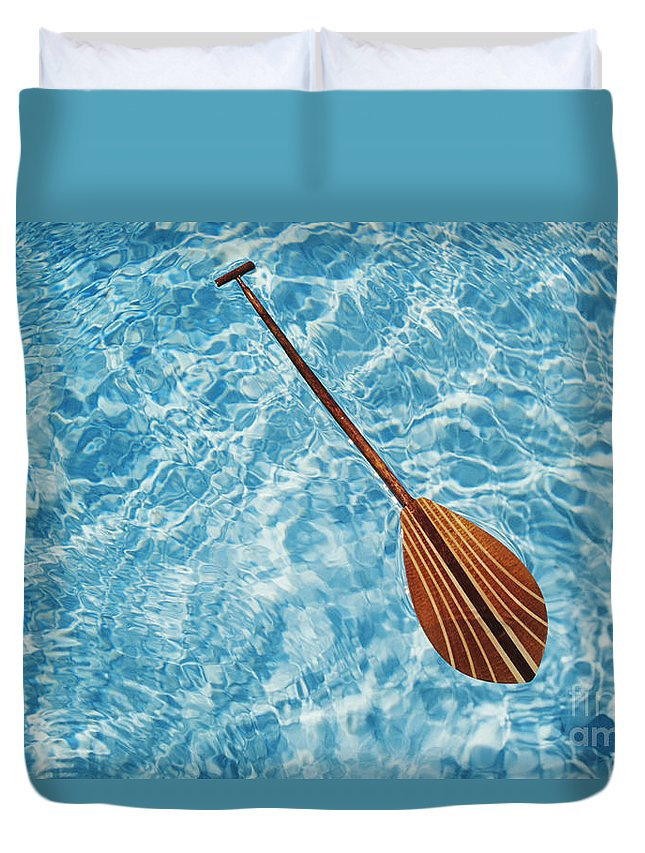 Above Duvet Cover featuring the photograph Overhead View Of Paddle by Joss - Printscapes