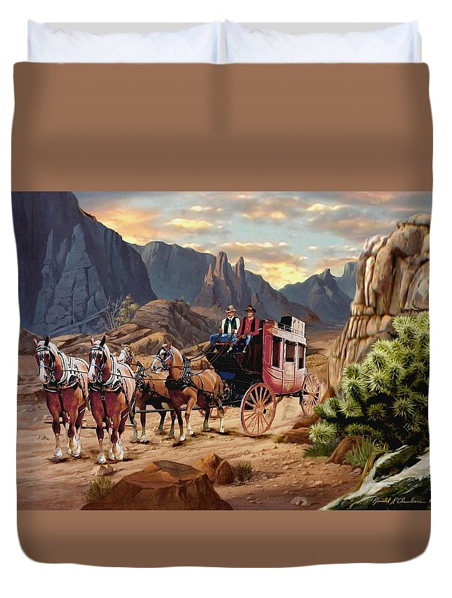 Covered Wagon Chuck Horse Team Cowboy Cattle Drive Move Them Out Round Up Horse Old Sunrise Sunset Mountains Early Morning Valley Pass Team Western First Light Camp Pioneer Wagon Wheel West Sundown Dawns Trail Stage Coach Stagecoach Overland Trail Mail Pony Express The Of To And A In Is It You He Was For On Are As I His Be One Or Had By We Can All Up An She Do If So Her With That They Have But Were Then Word Make Like Our Rkc Ron Ronald K Chambers Country Western Animals Wild Life Wildlife Duvet Cover featuring the painting Overland Trail V2 by Ron Chambers