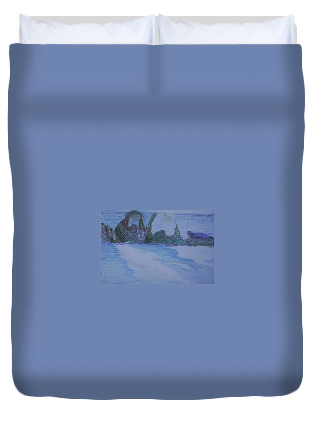 Abstract Painting Duvet Cover featuring the painting Overlap by Suzanne Udell Levinger