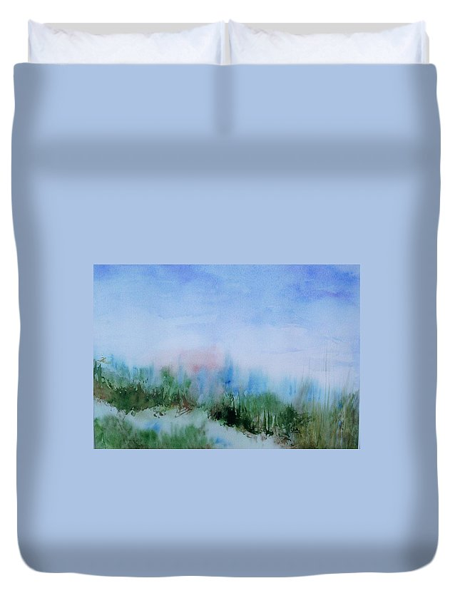 Landscape Duvet Cover featuring the painting Overlook by Suzanne Udell Levinger