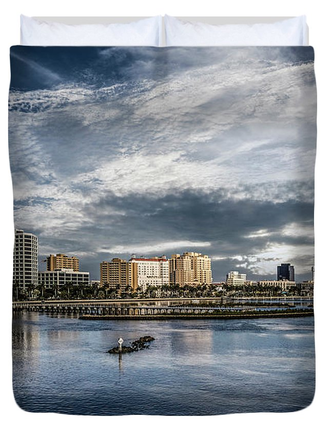 Boats Duvet Cover featuring the photograph Overlooking West Palm Beach by Debra and Dave Vanderlaan