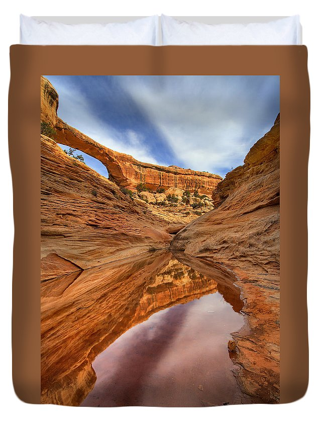 Bridge Duvet Cover featuring the photograph Owachomo Reflected by Mike Dawson