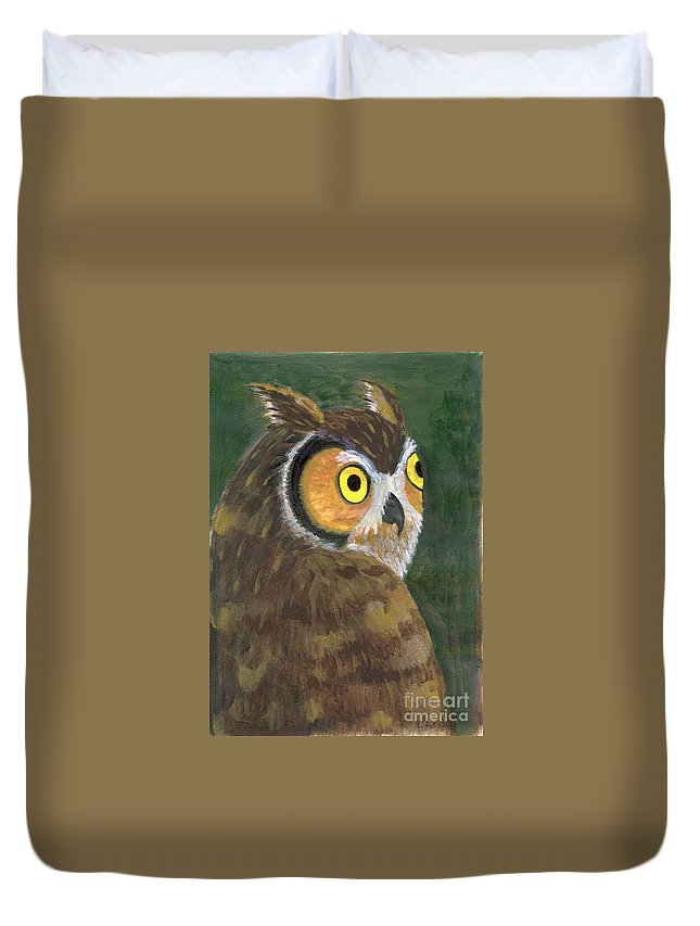 Owl Duvet Cover featuring the painting Owl 2009 by Lilibeth Andre