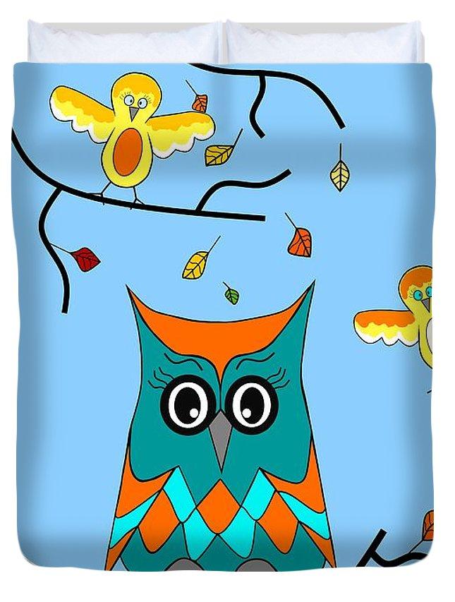 Cute Owl Art Duvet Cover featuring the digital art Owl And Birds - Whimsical by Kathleen Sartoris