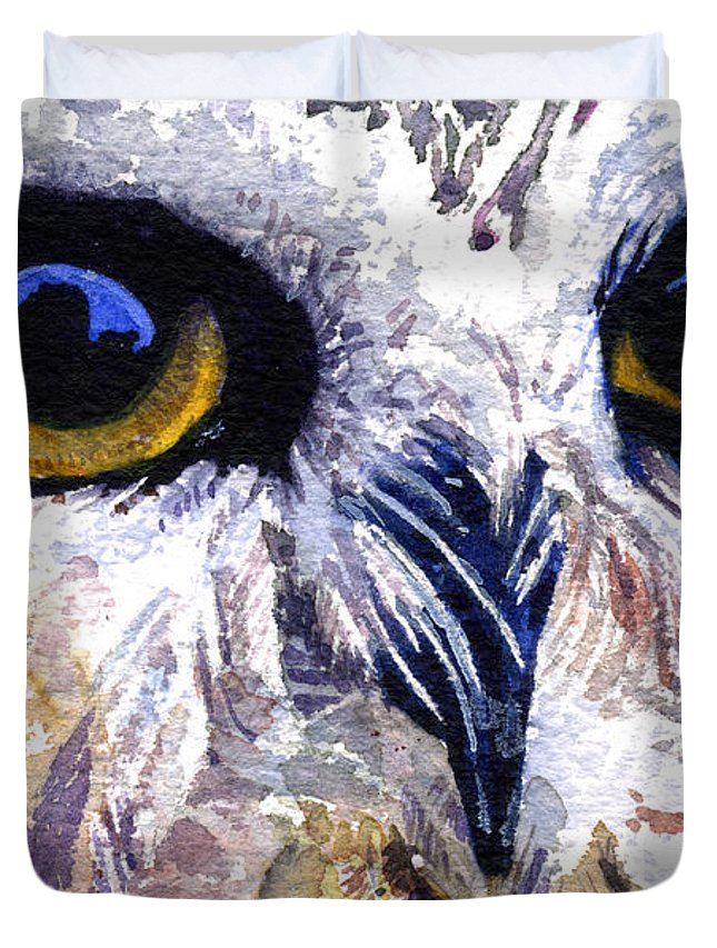 Eye Duvet Cover featuring the painting Owl by John D Benson