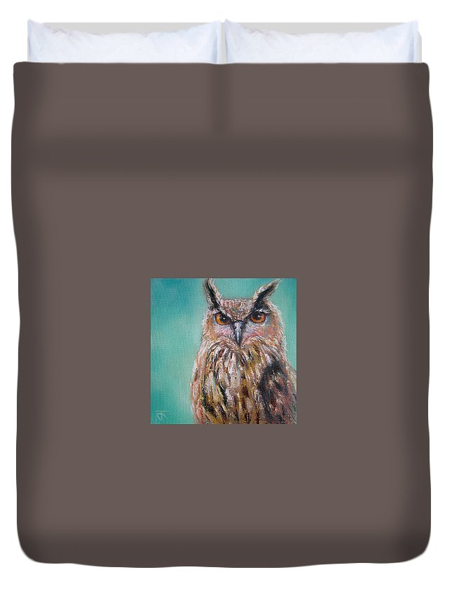 Owl Duvet Cover featuring the painting Owl No.5 by Jack No War
