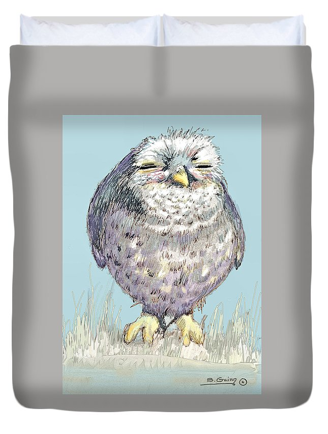 Owl Duvet Cover featuring the painting Owl by Shane Guinn