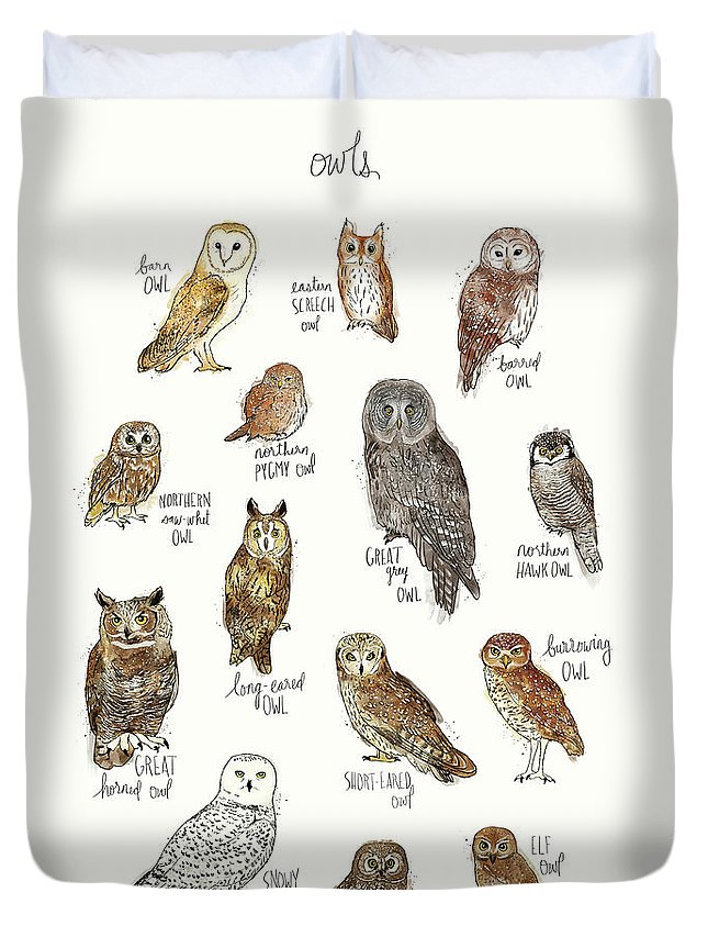 Owl Duvet Cover featuring the painting Owls by Amy Hamilton