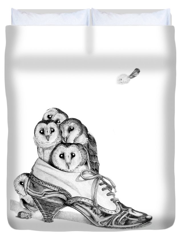 Owl Duvet Cover featuring the painting Owls In A Shoe by Melissa A Benson