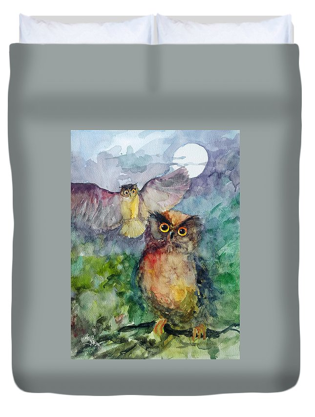 Owl Duvet Cover featuring the painting Owls In The Night... by Faruk Koksal