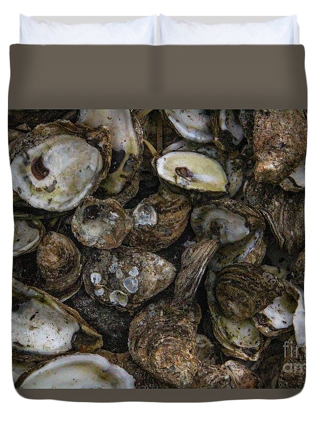 Oysters Duvet Cover featuring the photograph Oysters Two by Steven Munger