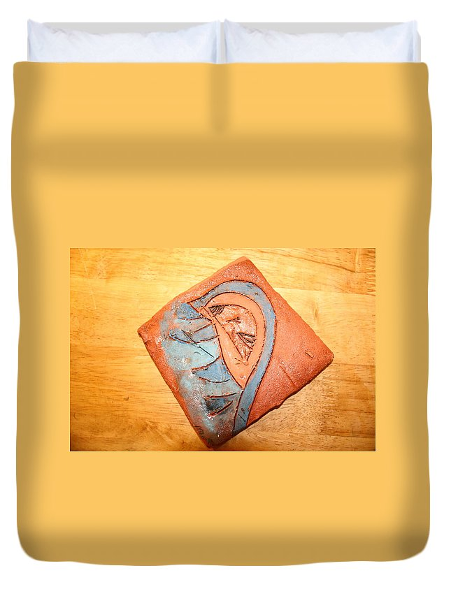 Jesus Duvet Cover featuring the ceramic art Ozukusee - Tile by Gloria Ssali