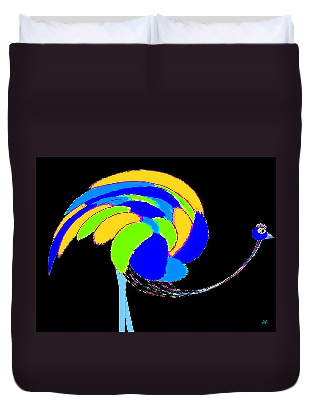 Abstract Duvet Cover featuring the digital art Ozzie The Ostrich by Will Borden
