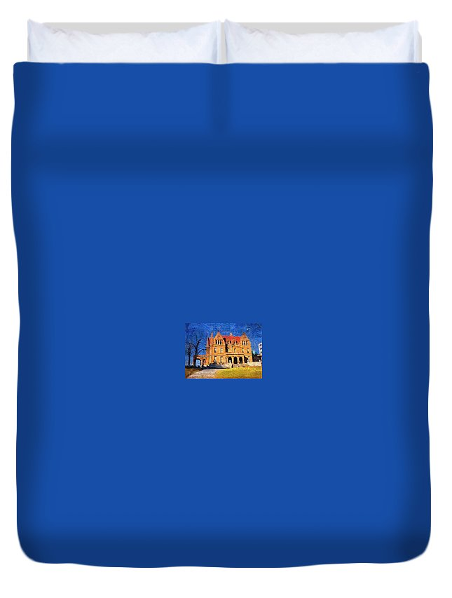Architecture Duvet Cover featuring the digital art Pabst Mansion by Anita Burgermeister