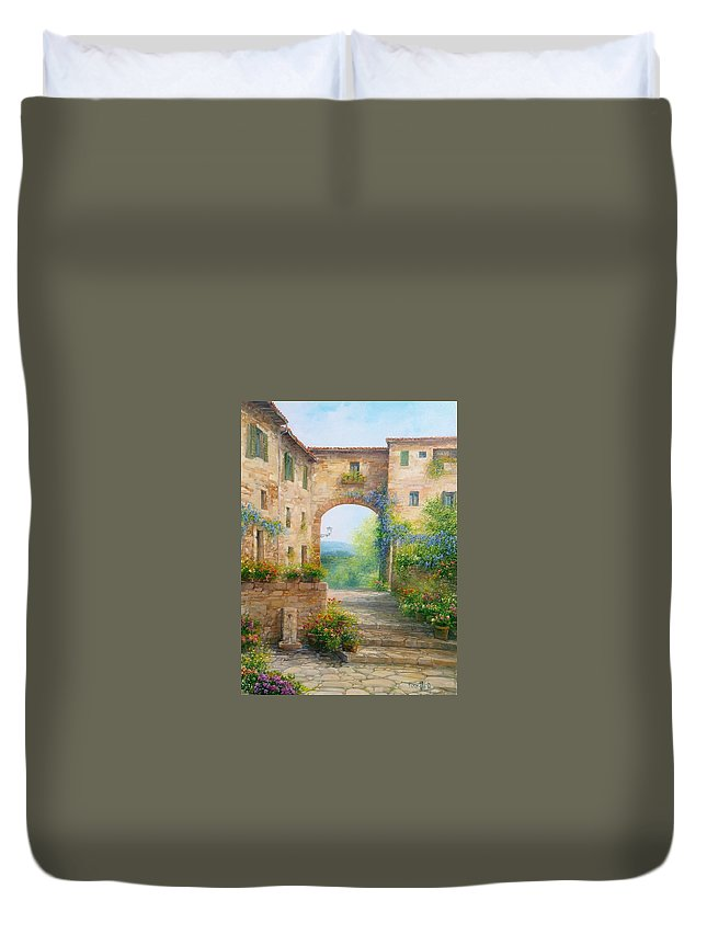 Flowers Duvet Cover featuring the painting Pace In Toscana - Italy by Antonietta Varallo