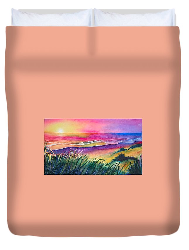Pacific Duvet Cover featuring the painting Pacific Evening by Karen Stark
