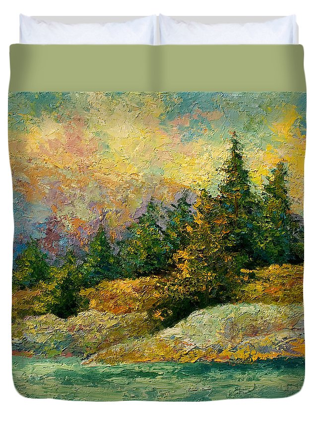Alaska Duvet Cover featuring the painting Pacific Island by Marion Rose