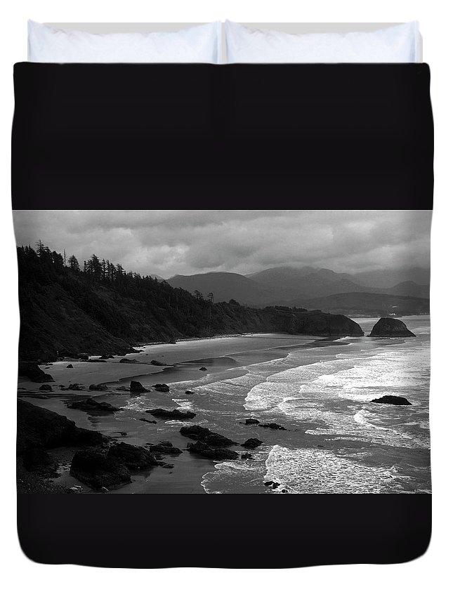 Beach Duvet Cover featuring the photograph Pacific Ocean Moody Scenic by Sally Weigand
