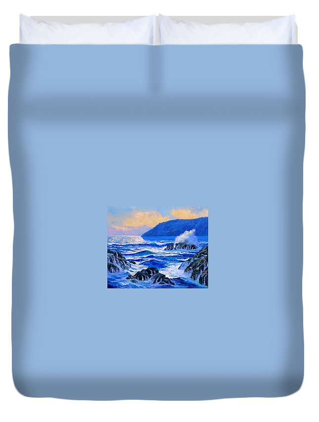 Ocean Duvet Cover featuring the painting Pacific Sunset by Frank Wilson
