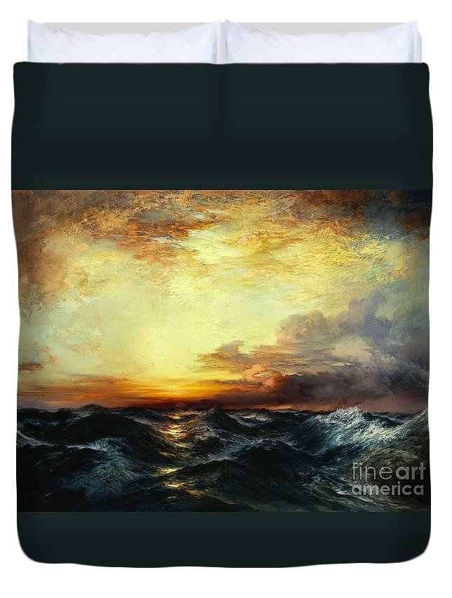 Thomas Moran Duvet Cover featuring the painting Pacific Sunset by Thomas Moran