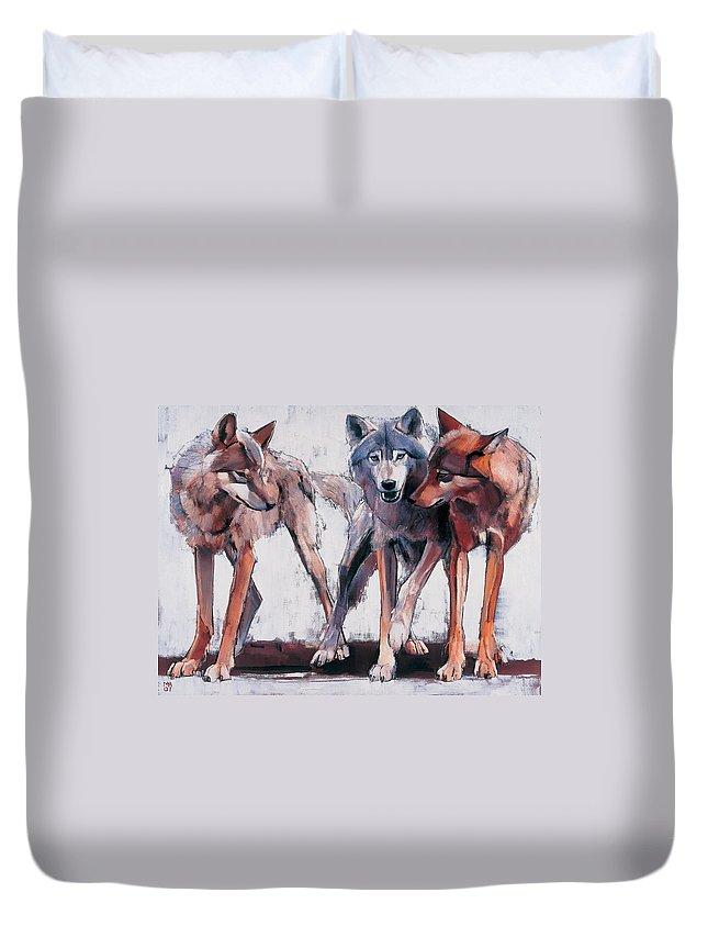 Wolves Duvet Cover featuring the painting Pack Leaders by Mark Adlington