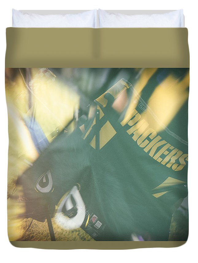 Packers Fan Duvet Cover featuring the photograph Packers Fan by Marit Runyon