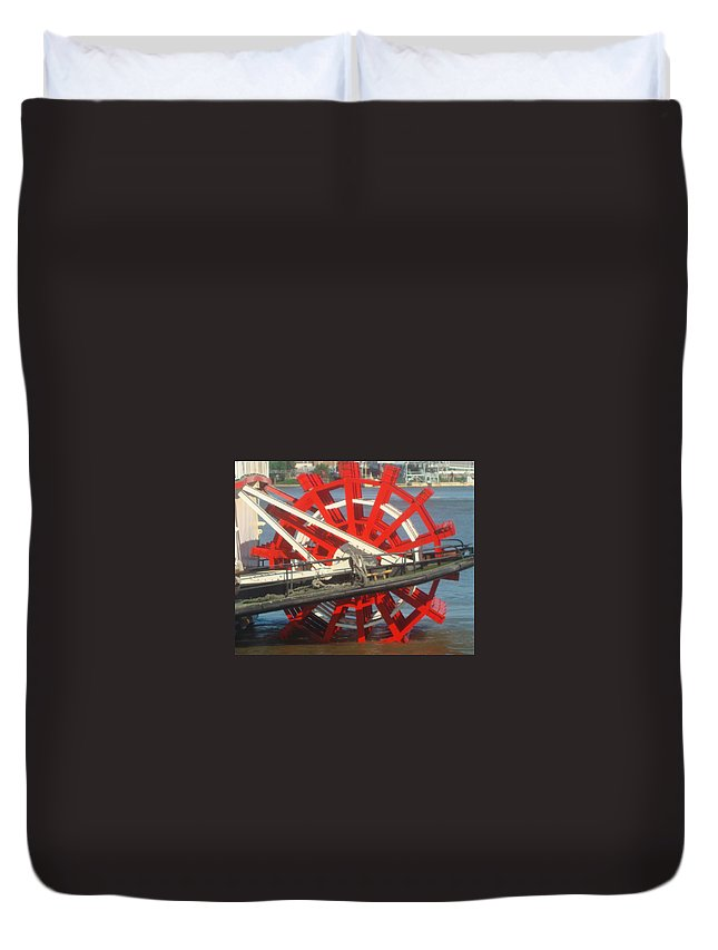 Paddlewheel Duvet Cover featuring the photograph Paddlewheel At Rest by Marie Alvarez