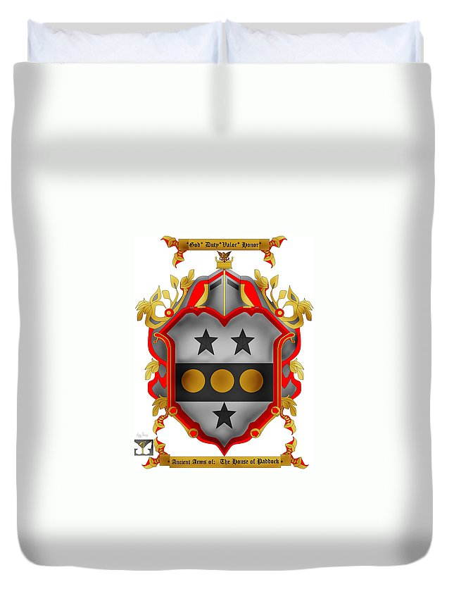 Paddock Coa Duvet Cover featuring the painting Paddock Family Crest by Anne Norskog