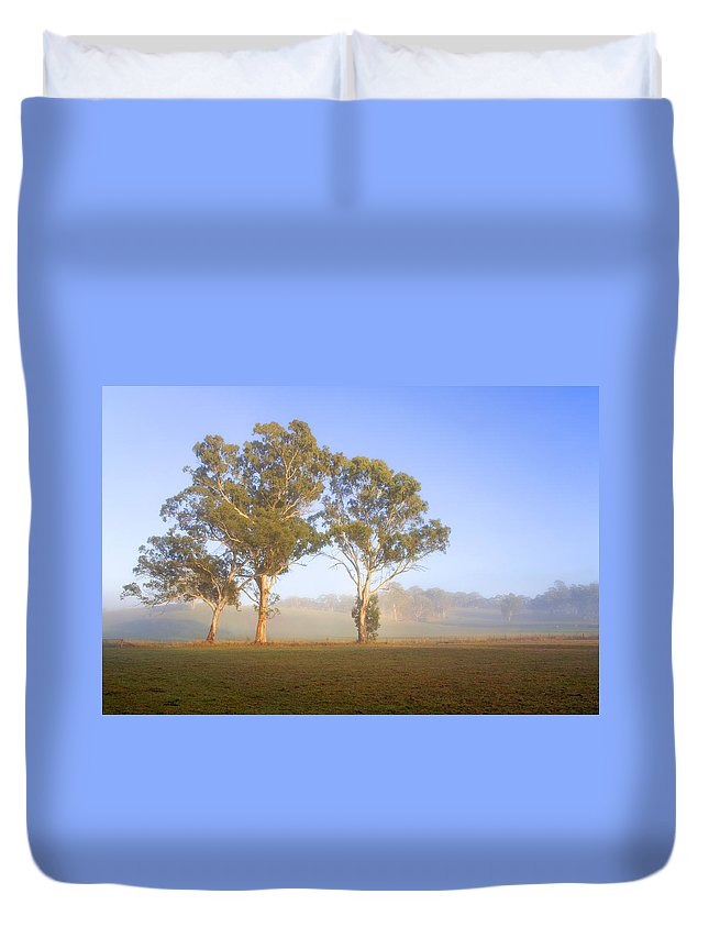 Gum Duvet Cover featuring the photograph Paddock Sunrise by Mike Dawson