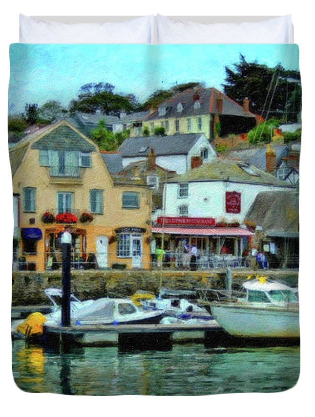 Dean Wittle Duvet Cover featuring the painting Padstow Harbour Slipway - P4a16023 by Dean Wittle