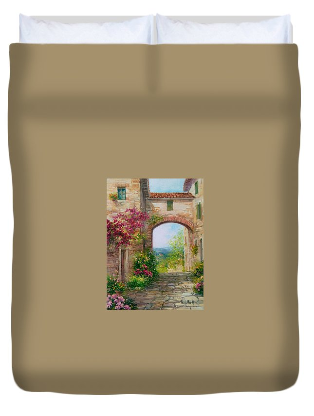Flowers Duvet Cover featuring the painting Paese In Toscana - Italy by Antonietta Varallo