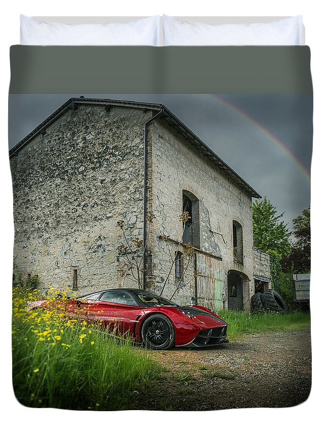 Pagani Duvet Cover featuring the photograph Pagani Huayra Rainbow by George Williams