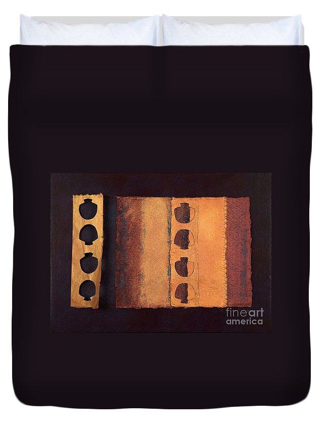 Pageformat Duvet Cover featuring the mixed media Page Format No 3 Tansitional Series  by Kerryn Madsen-Pietsch